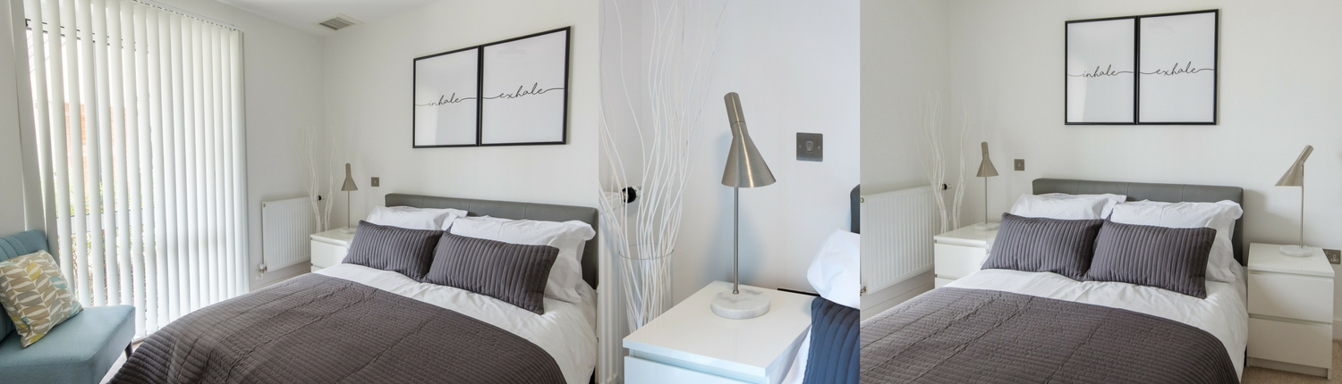 grey bedroom by Erika Interiors